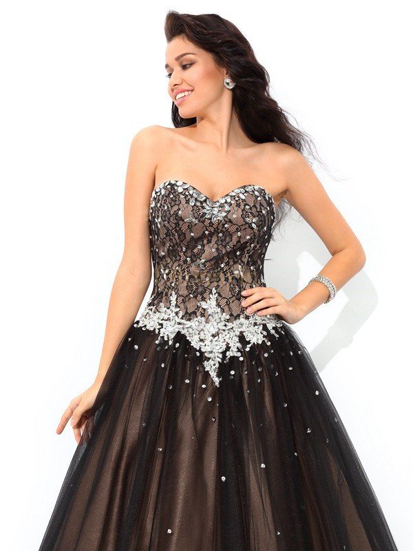 e27c8fe06cde Black Net Sweetheart Ball Gown Floor-Length Quinceanera Dresses -  Bonnyin.com.au