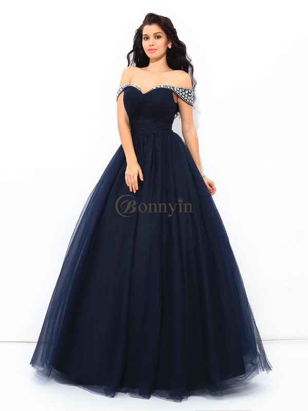 8f519d4bb6 Dark Navy Net Off-the-Shoulder Ball Gown Floor-Length Quinceanera Dresses