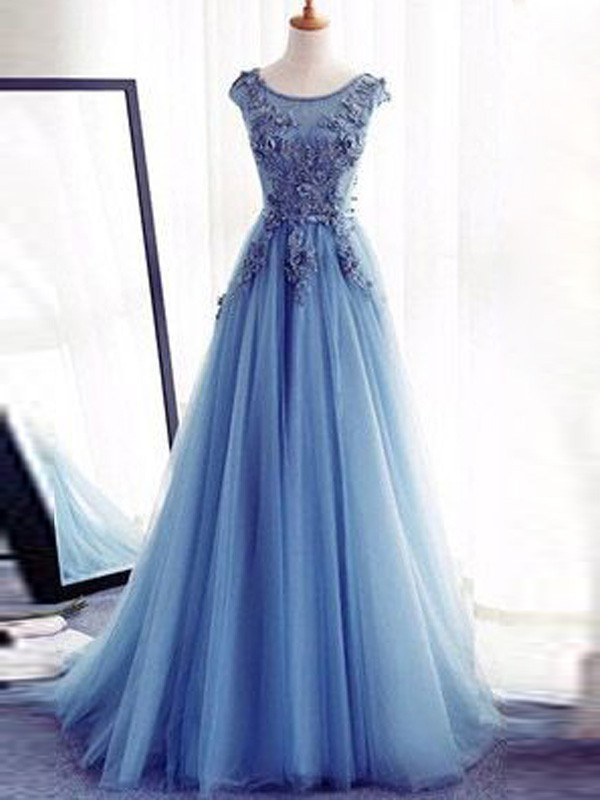 70c4f5ff826 Light Sky Blue Tulle Jewel Ball Gown Sweep Brush Train Prom Dresses ...