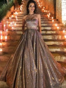 Silver Sequins Sweetheart Ball Gown Sweep/Brush Train Dresses