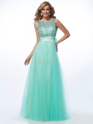 Green Net Bateau A-Line/Princess Floor-Length Dresses