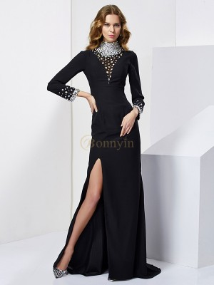 Black Chiffon High Neck Sheath/Column Sweep/Brush Train Dresses