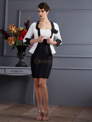 White Black Taffeta Strapless Sheath/Column Short/Mini Dresses