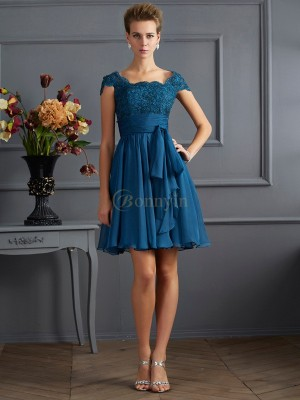 Royal Blue Chiffon Scoop A-Line/Princess Short/Mini Dresses