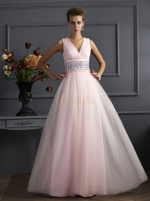 Pearl Pink Net V-neck Ball Gown Floor-Length Dresses