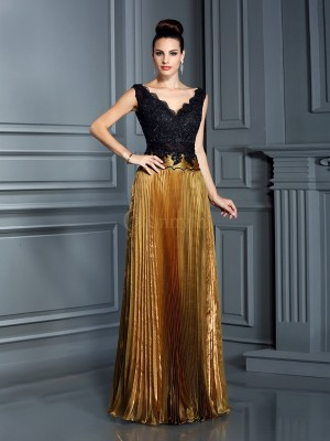 Brown Organza V-neck Sheath/Column Floor-Length Dresses