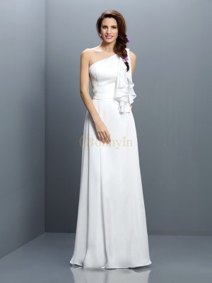 White Chiffon One-Shoulder A-Line/Princess Floor-Length Bridesmaid Dresses