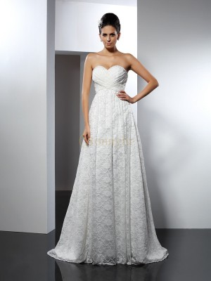 Ivory Satin Sweetheart A-Line/Princess Sweep/Brush Train Wedding Dresses