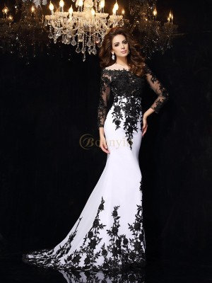 White Chiffon Scoop Sheath/Column Sweep/Brush Train Dresses