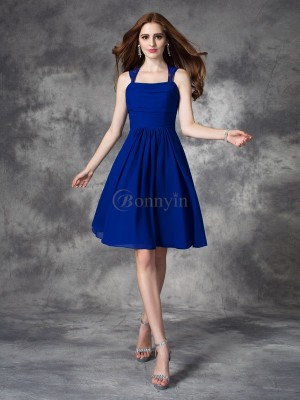 Royal Blue Chiffon Straps A-line/Princess Short/Mini Bridesmaid Dresses