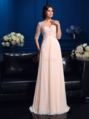 Pink Chiffon V-neck A-Line/Princess Sweep/Brush Train Mother of the Bride Dresses