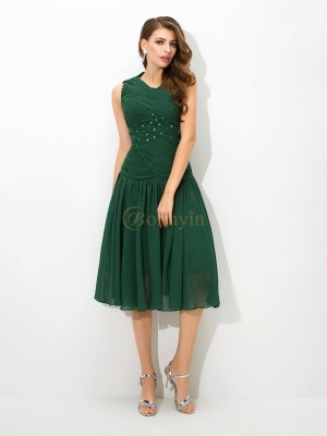 Dark Green Chiffon Scoop A-Line/Princess Knee-Length Prom Dresses