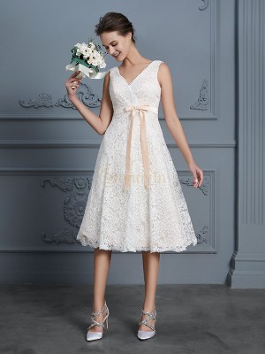 Ivory Lace V-neck A-Line/Princess Knee-Length Wedding Dresses