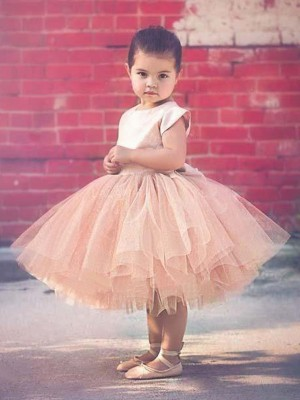 Brown Tulle Scoop Ball Gown Knee-Length Flower Girl Dresses
