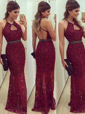 Red Lace Halter Sheath/Column Floor-Length Prom Dresses