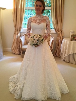 White Lace High Neck Ball Gown Court Train Wedding Dresses