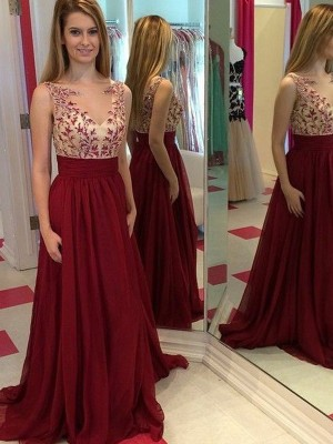 Red Chiffon Bateau A-Line/Princess Floor-Length Prom Dresses