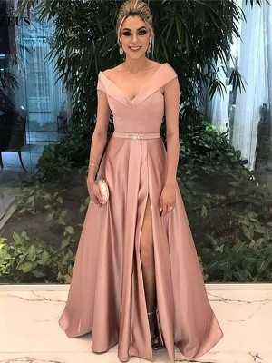 Pearl Pink Satin Off-the-Shoulder A-Line/Princess Floor-Length Dresses