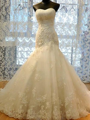 Ivory Tulle Sweetheart Trumpet/Mermaid Court Train Wedding Dresses