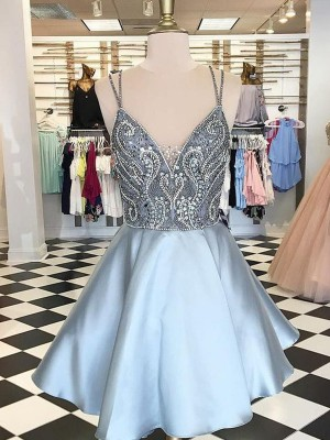 Light Sky Blue Satin Spaghetti Straps A-Line/Princess Short/Mini Dresses