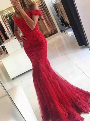 Red Tulle Off-the-Shoulder Trumpet/Mermaid Sweep/Brush Train Dresses