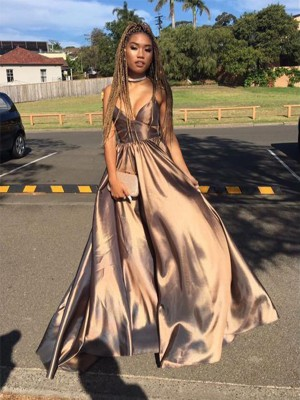 Brown Satin V-neck A-Line/Princess Floor-Length Dresses