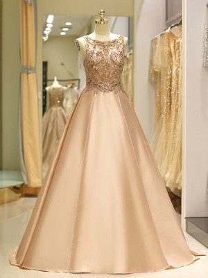 Champagne Satin Bateau Ball Gown Sweep/Brush Train Dresses