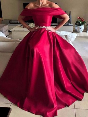 Red Satin Off-the-Shoulder A-Line/Princess Floor-Length Dresses