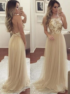 Champagne Tulle Halter A-Line/Princess Floor-Length Dresses