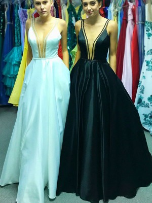 Black Satin V-neck A-Line/Princess Floor-Length Dresses