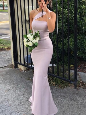 Lilac Spandex One-Shoulder Sheath/Column Floor-Length Bridesmaid Dresses