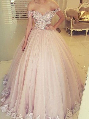 Pearl Pink Tulle Off-the-Shoulder Ball Gown Floor-Length Dresses