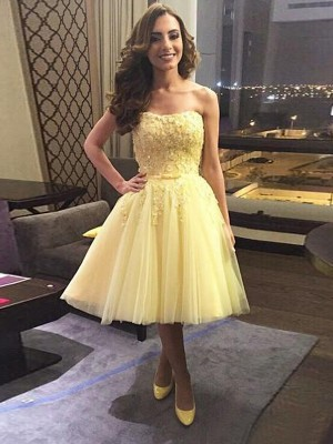 Daffodil Tulle Sweetheart A-line/Princess Short/Mini Dresses