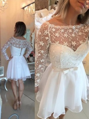 White Chiffon Bateau A-line/Princess Short/Mini Dresses