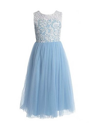 Light Sky Blue Tulle Jewel A-Line/Princess Ankle-Length Flower Girl Dresses