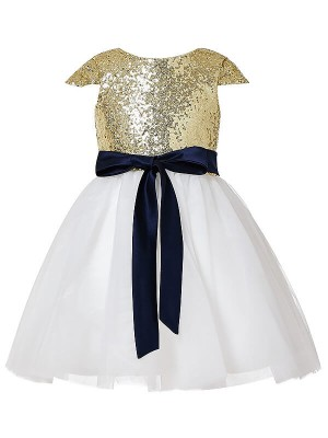 Gold Tulle Jewel A-Line/Princess Tea-Length Flower Girl Dresses