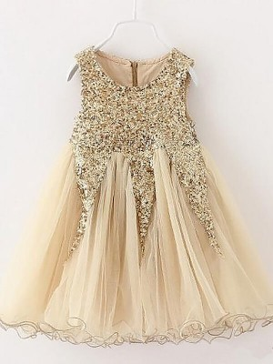 Champagne Tulle Jewel A-Line/Princess Short/Mini Flower Girl Dresses