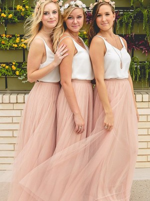 Pink Tulle V-neck A-Line/Princess Floor-Length Bridesmaid Dresses