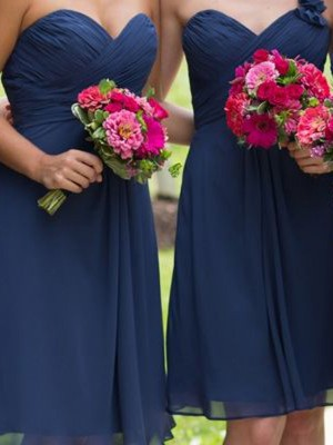 Dark Navy Chiffon Sweetheart A-Line/Princess Short/Mini Bridesmaid Dresses