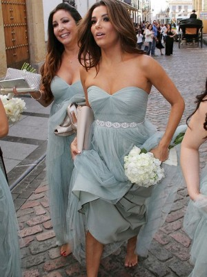 Grey Tulle Sweetheart A-Line/Princess Floor-Length Bridesmaid Dresses