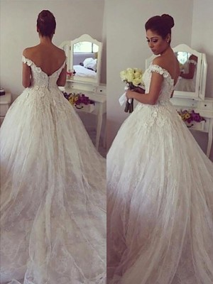 Ivory Lace Off-the-Shoulder Ball Gown Court Train Wedding Dresses