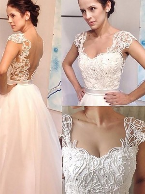 Ivory Tulle Sweetheart A-Line/Princess Sweep/Brush Train Wedding Dresses