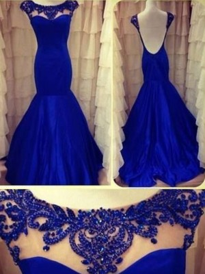 Royal Blue Taffeta Scoop Trumpet/Mermaid Floor-Length Dresses