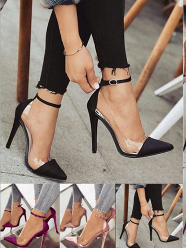 Women PU Stiletto Heel Closed Toe High Heels