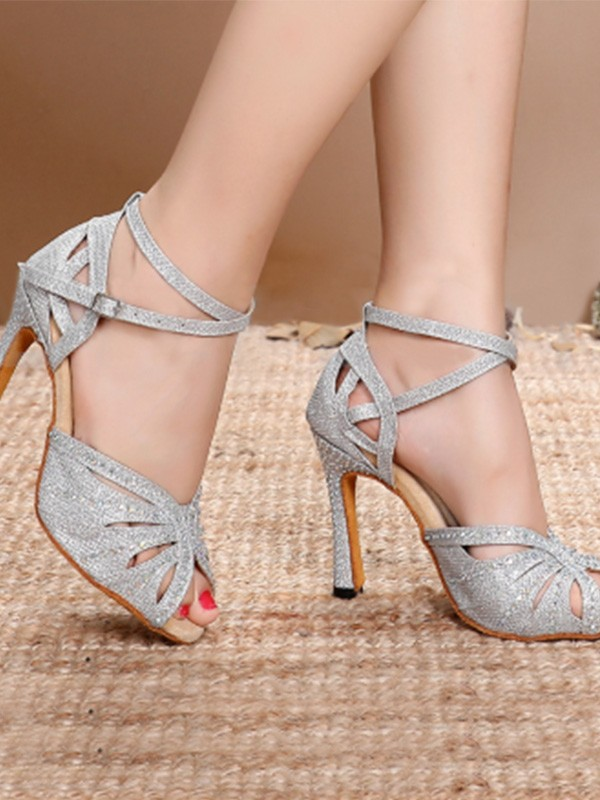 Women Sparkling Glitter Stiletto Heel Peep Toe Sandals