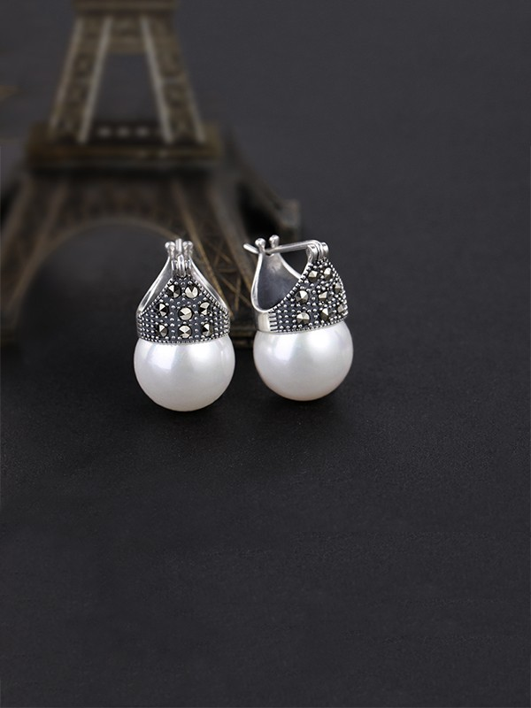 Classic S925 Silver With Pearl Ladies Earrings