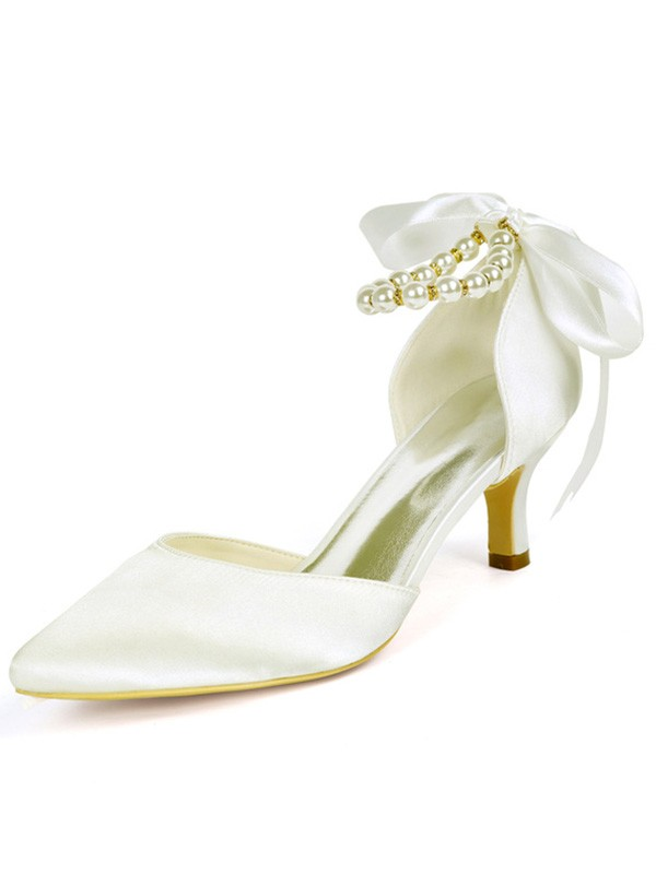 Women Satin Stiletto Heel Closed Toe Sandals