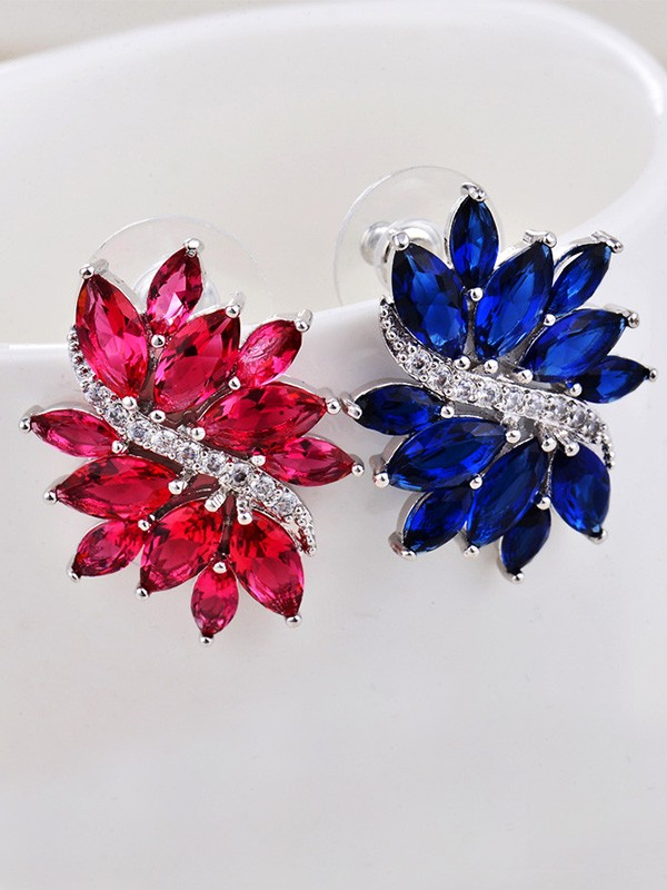 Fashionable Copper With Rhinestone Earrings For Women