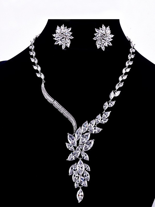 Fashion Copper With Zircon Jewelry Set For Ladies