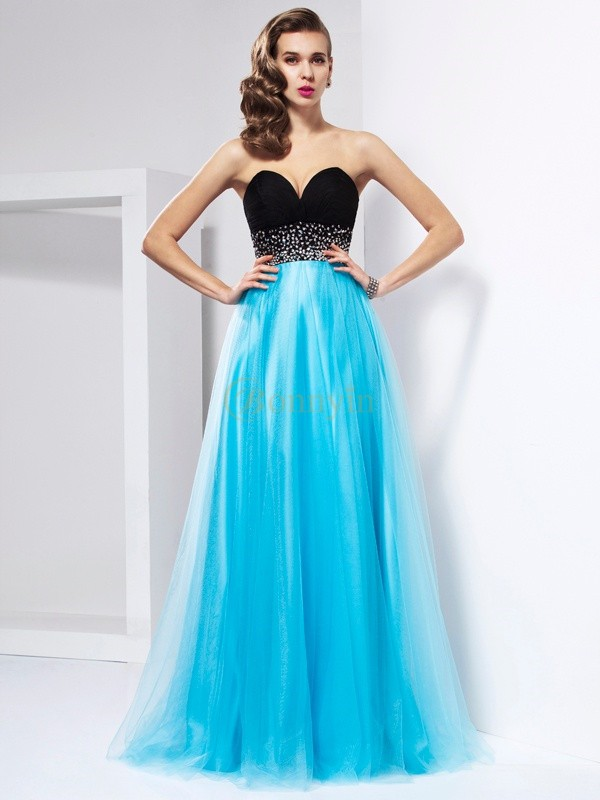 Blue Net Sweetheart A-Line/Princess Floor-Length Dresses